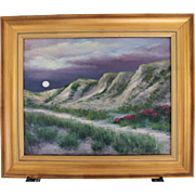 Moonrise Over Dunes-Framed 16 X 20 Oil Painting by Artist L. Warner-Beach Path with Roses