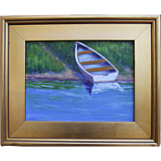 Beached Across the Cove-Framed 9 X 12 Oil Painting by Artist L. Warner-Rowboat in Reeds
