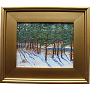 Winter in Wellfleet-Framed 9 X 12 Oil Painting by Artist L. Warner-Snowy Creek & Pine Trees