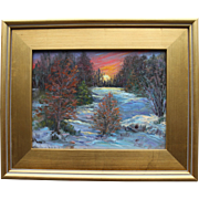 Snowy Ravine Sunset-Framed 9 X 12 Oil Painting by Artist L. Warner-Fiery Sky & Freezing Woods