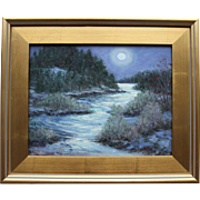 Weather Report-Framed 11 X 14 Oil Painting by Artist L. Warner-Full Moon Over Snowy Ravine