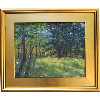 Ancient Pines-Framed 11 X 14 Oil Painting by Artist L. Warner-Summer Woods