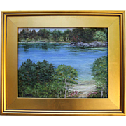 Pond Reflections-Framed 11 X 14 Oil Painting by Artist L. Warner-Lake in Summer