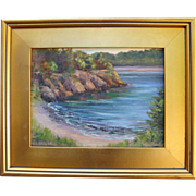 Sunrise at the Cove-Framed 9 X 12 Oil Painting by Artist L. Warner-Red Rocks & High Tide