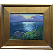 Clearing Over P-Town-Framed 8 x 10 Oil Painting by Artist L. Warner-Summer Cottage Waterview