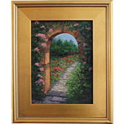 Sanctuary-9 X 12 Framed Oil Painting-Floral Archway & Garden-Artist L. Warner