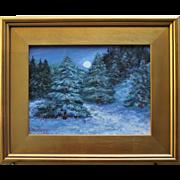 Moonlit Winter Woods-Framed 9 X 12 Oil Painting by Artist L. Warner