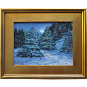 Moonlit Winter Woods-Framed 9 X 12 Oil Painting by Artist L. Warner-Snowy Trail at Night
