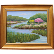 Springtime by the Sea-Framed 16 X 20 Oil Painting-Impressionistic Seascape of Cape Cod, MA
