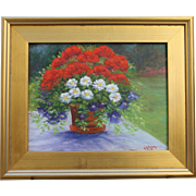 Patriotic Planter-Framed 11 X 14 Oil Painting-Impressionistic Floral by L. Warner