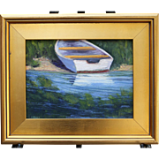 Beached Boat-Framed 9 X 12 Oil Painting by Artist L. Warner-Rowboat Reflections