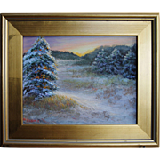 Winter's Decor-Framed 11 X 14 Oil Painting by Artist L. Warner-Snow Covered Pine Trees