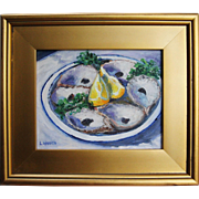 All Gone/Blue Dish-Framed 8 X 10 Oil Painting-Oyster Shells