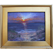 Sunset at Mayo Beach, Wellfleet, MA-Framed 11X14 Oil Painting-L. Warner Artist