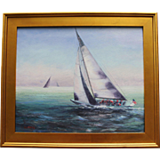Fog Bank-Framed 20 X 24 Oil Painting by Artist L. Warner-Fleet Racing in Newport, RI