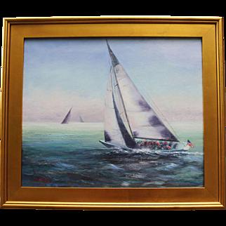 Fog Bank-Framed 20 X 24 Oil Painting by Artist L. Warner-Fleet Racing in Newport, RI