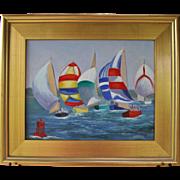 Summer Regatta-Framed 11 X 14 Oil Painting-L. Warner Artist