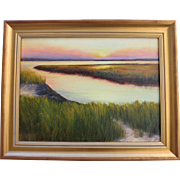 Evening Begins-Framed 18 X 24 Oil Painting-Peaceful Coastal Sunset