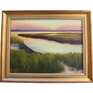 Evening Begins-Framed 18 X 24 Oil Painting-Peaceful Coastal Sunset
