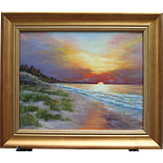 Golden Sunset, Cape Cod-Framed 16 X 20 Oil Painting by L. Warner