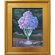 Nantucket Sundae-Framed 11 x 14 Oil Painting by L. Warner-Purple Hydrangea Blossom