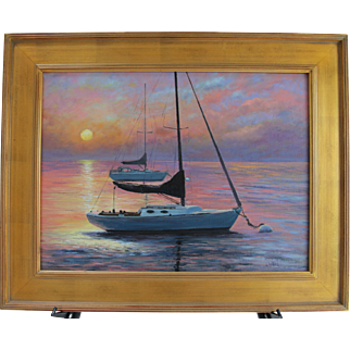 Sleep'in In-Harbor Sunrise-Framed 18 X 24 Oil Painting by L. Warner-Sailboats on Moorings