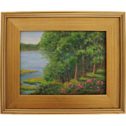 Summer Afternoon From My Deck-Framed 9 X 12 Oil Painting by L. Warner-Trees & Roses On the Bay