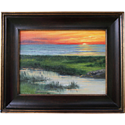 Coastal Light Show-Framed Oil Painting by L. Warner-Sunset on the Bay