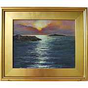 Sunrise from Jamestown, RI-Framed 11 X 14 Oil Painting by Artist L. Warner-Dazzling Dawn