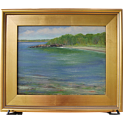 Crystal Clear Cove-Framed 11 X 14 Oil Painting by Artist L. Warner-Sandy Beach
