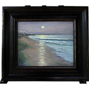 Moonlit Dunes-Framed 8 X 10 Oil Painting by Artist L. Warner-Seashore at Night