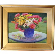 Gifts from the Garden-Framed 11 X 14 Oil Painting by Artist L. Warner-Fresh Floral Bouquet