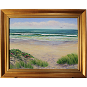 High Tide-Framed 18 X 24 Oil Painting by Artist L. Warner-Ocean Beach Summer Day