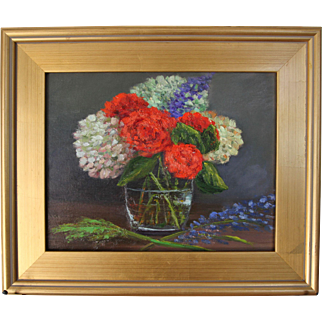 Autumn Bouquet-Framed 11 X 14 Oil Painting by Artist L. Warner-Floral Still Life