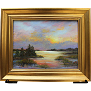 Sunset Over Blackfish Creek-Framed 12 X 16 Oil Painting-Landscape by Artist L. Warner