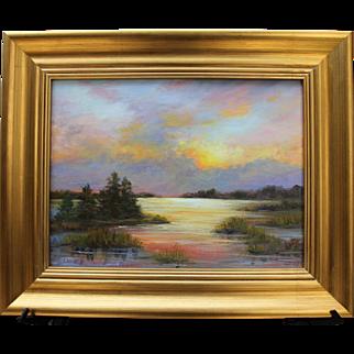 Sunset Over Blackfish Creek-Framed 12 X 16 Oil Painting-Landscape by Artist L. Warner