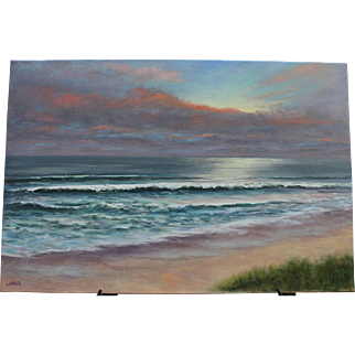Atlantic Afternoon Seascape-36 X 24 Gallery Wrapped Canvas-Original Oil Painting-Artist L. Warner