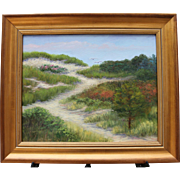 Dune Path to Beach-Framed 16 X 20 Oil Painting-Artist L. Warner