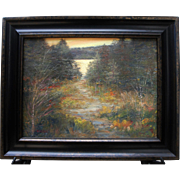 Sunset Pond-Framed 12 X 16 Original Oil Painting-Artist L. Warner-Rustic Woods