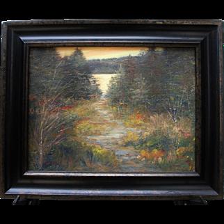 Sunset Pond-Framed 12 X 16 Original Oil Painting-Artist L. Warner-Rustic Woods