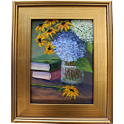 Summer Reading-Framed 9 X 12 Original Oil Painting-Artist L. Warner-Books & Bouquet