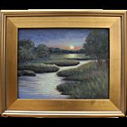 Luminous Marsh Moonrise-Framed 11 X 14 Oil Painting-Artist L. Warner