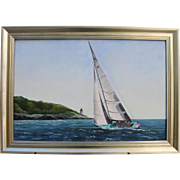 Ready About-12 Meter Sailboat Off Castle Hill, Newport, RI-Framed 24 X 36 Oil Painting-Artist L. Warner