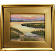 Golden Moment-Framed 8 X 10 Oil Painting-Artist L. Warner-Sunset Seascape