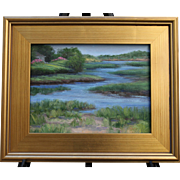 Summer on the Pamet, Truro MA-Framed 9 x 12 Oil Painting-Artist L. Warner