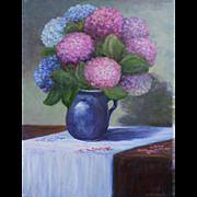 Hydrangeas & Blue Vase-18 X 24 Unframed Original Oil Painting-Artist L. Warner-Still Life Floral
