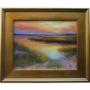 Hush on the Marsh-Framed 11 X 14 Original Oil Painting-Artist L. Warner-Cape Cod Seascape