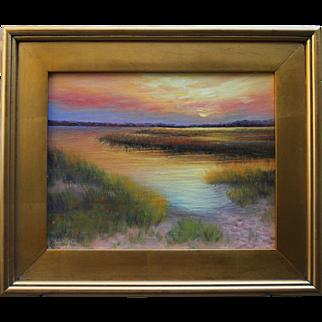 Hush on the Marsh-Framed 11 X 14 Original Oil Painting-Artist L. Warner-Cape Cod Seascape