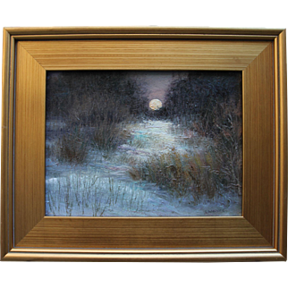 Coyote Time Moonrise-Framed 9 X 12 Original Oil Painting-Artist L. Warner