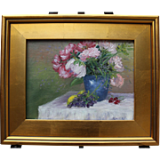 After Lunch-Floral Still Life-Framed 9 X 12 Original Oil Painting-Artist L. Warner